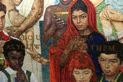 Replace 27  Golden rule.  1985  Mosaic in UN based on  painting by Norman Rockwell.  UN, NYC