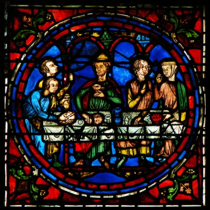 Replace 28  Wedding at Cana. c.1150. Oak woodcarving, choirstall area, Cathedral of Amiens, Chartres.