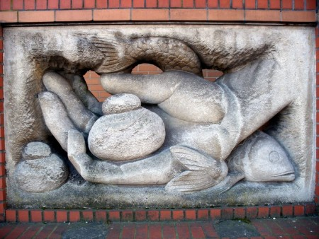 Pentecost 12 Hand of God With Loaves andFish, United Reform Church, Brighton Eng.  late 20th c.  Photo by Anders Sandberg