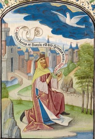 PEntecost 16 - Solomon praying to the Holy Spirit. Vrelant, Guillaume, -1481  J Paul Getty Mus LA
