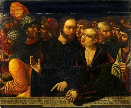 Pentecost 23, Christ and Woman Caught in Adultery, 1534, Kemmer, Hans, Besitz des St.-Annen-Museums, Lubek, Germany
