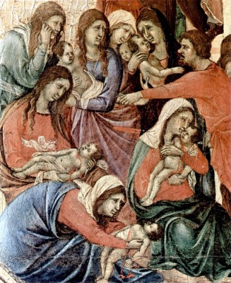 Advent 3 Bethlehem Mourns Infants Killed by Herod, Duccio_di_Buoninsegna, 1306, Maesta Altar, Siena, Italy, vanderbilt