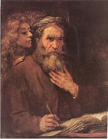 Advent 3 The_Evangelist_Matthew_Inspired_by_an_Angel.  Rembrandt von Ringe. Wiki Matthew Page