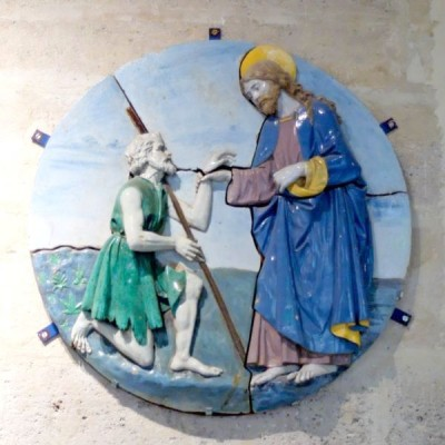 Epiphany 4 Christ Comforting a Poor Man Della_Robbia, Luca 1493 Musee de Louvre Paris  Vanderbilt