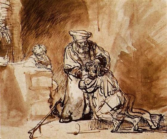 Lent 4 Prodigal Son. Rembrandt van Rijn 1609-1669 ink. Vanderbilt