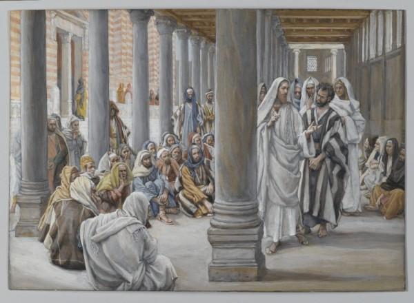 Easter 4 Brooklyn_Museum_-_Jesus_Walks_in_the_Portico_of_Solomon_(Jésus_se_promène_dans_le_portique_de_Salomon)_-_James_Tissot