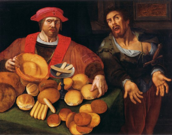 Rich and Poor, or War and Peace, 17th c. Unidentified Flemish Painter. Museum of Bread Culture, Ulm, Germany vander