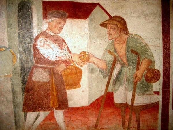 feed the hungry-fresco, Chiesa San Marcello, paruzzaro Italy, 15th to 16th c. Vanderbilt