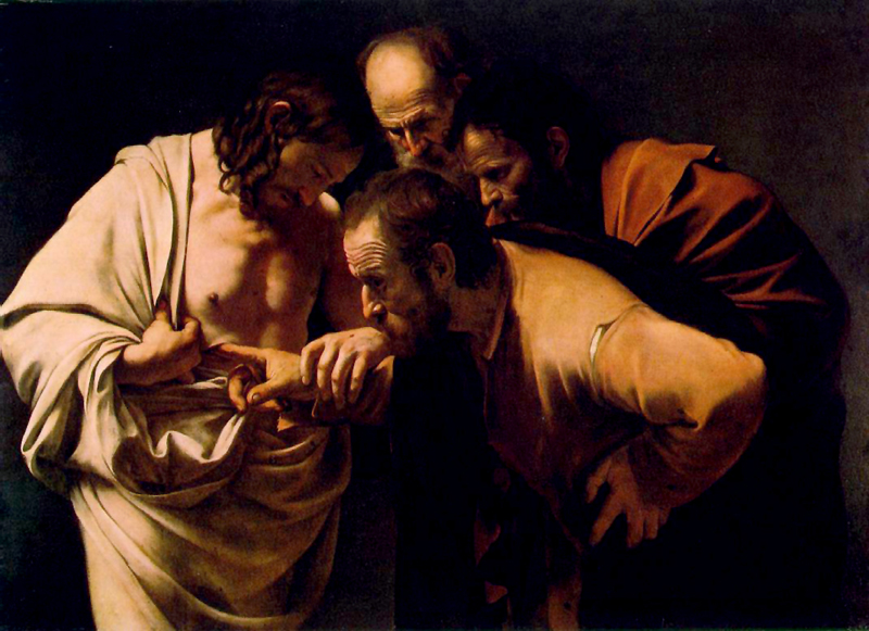 Doubting Thomas by Caravaggio, 1601. Neues Palais in Sanssouci Museum Potsdam, Germany