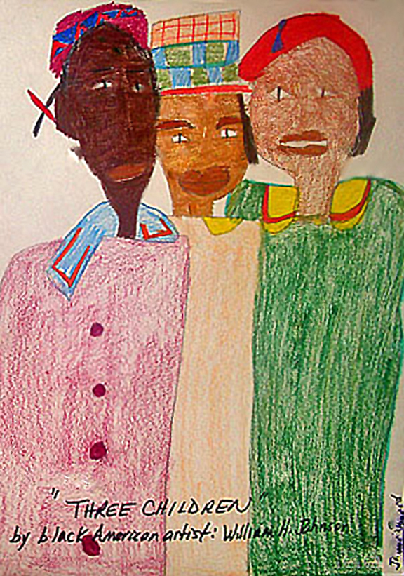 Three Friends, Artwork drawn by students in school art class, based upon the art of William H. Johnson. Photo by Lorna Effler