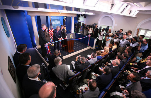 Press Pre-Brief. Oval. Ribbon-Cutting Ceremony for the James S. Brady Press Briefing Room.