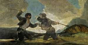 Dying in a global economy: Competitors sinking in quicksand as a volcano is about to go off (Francisco Goya, Fight with Cudgels, 1823; Source: Wikimedia Commons, PD-Old-100).