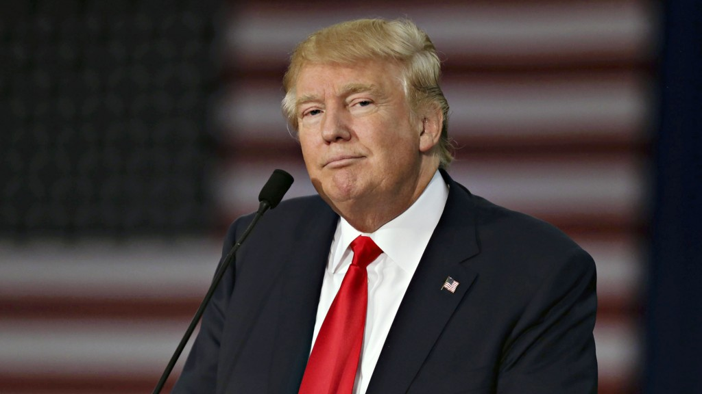 Donald Trump, president and chief executive of Trump Organization Inc. and 2016 Republican presidential candidate, speaks during a rally at Grand River Center in Dubuque, Iowa, U.S., on Tuesday, Aug. 25, 2015. President Barack Obama's top business ambassador dismissed Trump's call for a wall along the Mexico border, saying the U.S. is focused instead on expanding business with one of its biggest trade partners. Photographer: Daniel Acker/Bloomberg via Getty Images