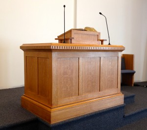 My pulpit.  I designed it and it was built by a furniture maker in my church. It is made from hand selected quarter-sawn red oak from the Berkshire Mountains.