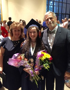 The daughter is Valedictorian of her high school class. Here the wife and I are with my sweetie.