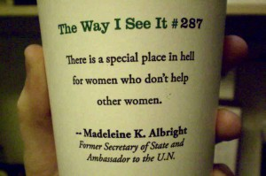 Starbucks cup with quote