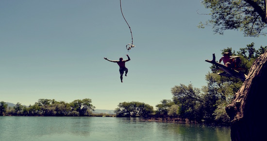 rope swing into lake