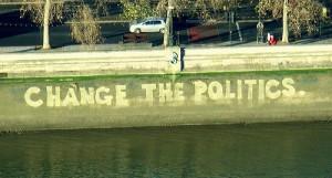 Change the Politics painted on bridge