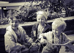 three boys playing