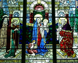 stained glass of Mary and Jesus