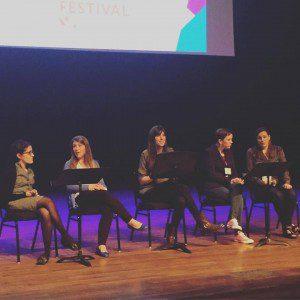 Memoir as Feminist Testimony panel. I'm in the middle.