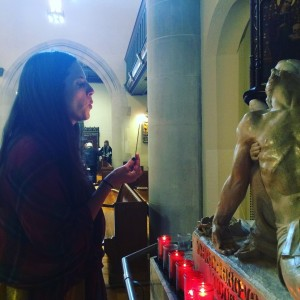 Jess prays at the Shrine of the Mother of Sorrows at St Gregory the Great in Chicago.