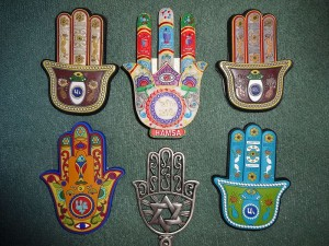 A collection of Hamsa protective amulets. Image source: Wikipedia