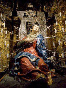 Salamanca - Iglesia de la Vera Cruz 12.jpg Seven Swords Piercing the Sorrowful Heart of Mary in the Church of the Holy Cross, Salamanca, Spain. Source: Wikipedia
