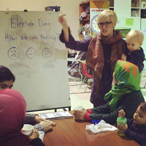 The author teaching at the Welcome Center for new parents at her daughter's school.