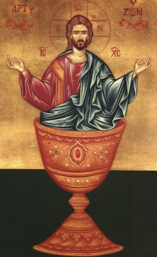 Ancient Icon of Christ and the Eucharist.