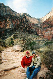 Ben taking a resat traveling up the canyon and his backpack (me).