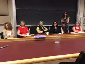 """Women writers on the """"Not Always Sweet"""" Panel at the Trying to Say God Conference at University of Notre Dame, 2017."""