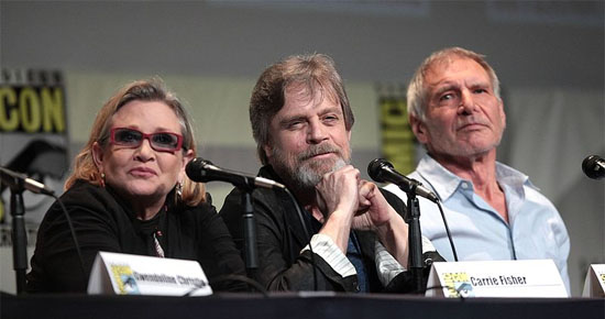 By Gage Skidmore from Peoria, AZ, United States of America (Carrie Fisher, Mark Hamill & Harrison Ford) [CC BY-SA 2.0 (http://creativecommons.org/licenses/by-sa/2.0)], via Wikimedia Commons