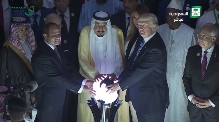 Donald Trump and other world leaders touch an ominous, glowing orb in a dark crowd