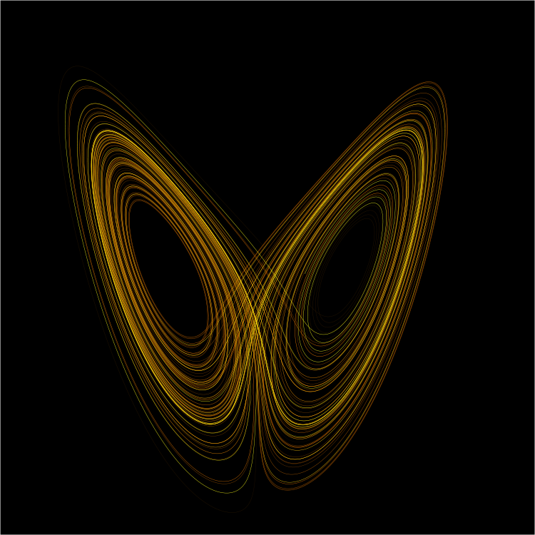 A Lorenz attractor, a common mathematical set of equations that give chaotic solutions.
