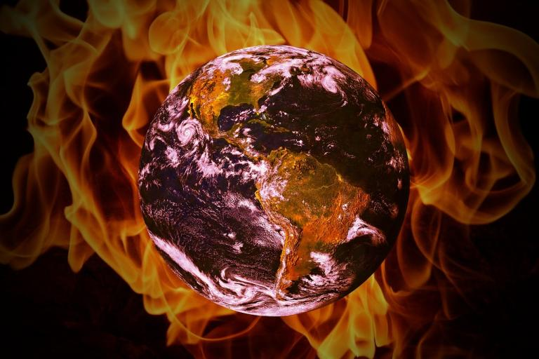 Earth surrounded by fire