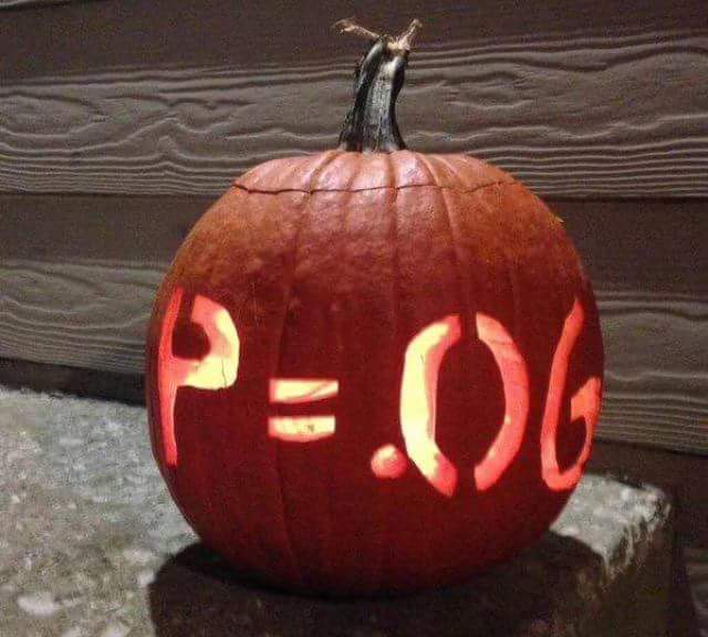 "A Jack O' Lantern with ""P=0.06"" carved into it."