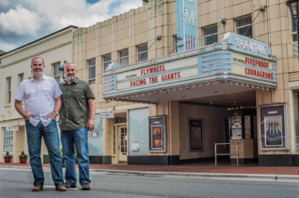 (L to R) Alex and Stephen Kendrick pose outside The Gem Theater in Kannapolis, N.C. (AFFIRM Films/Provident Films, Photo credit: Kevin Peeples)