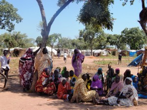 Nuba women who have fled the bombings and attacks on their homes to Yida Refugee Camp.  (Photo credit: Faith McDonnell)