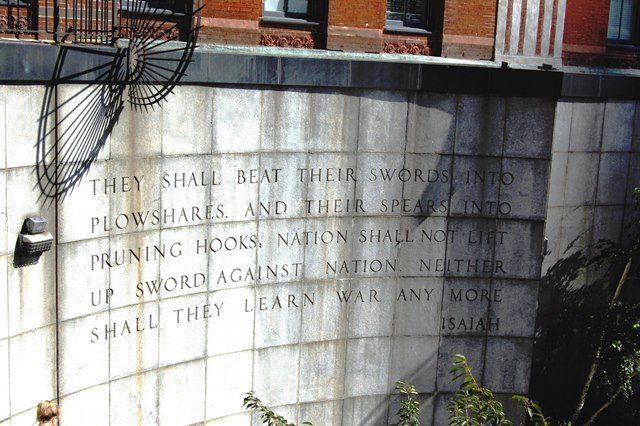 Steps near Dag Hammarskjold Plaza at the United Nations, New York, NY (Photo by Faith McDonnell)