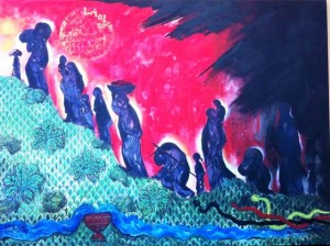 """Photo of """"The Way of the Cross"""" a painting by an Iraqi Christian"""" (Photo credit: Charmaine Hedding)"""