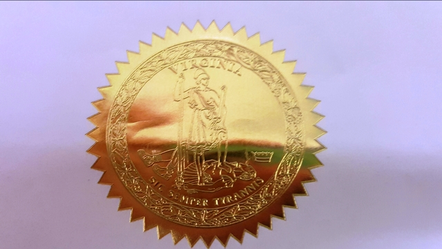 The Lesser Seal of the Commonwealth of Virginia, from letter.
