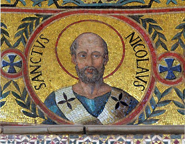 Mosaic of Bishop Nicholas at the Capella Palatina in Sicily (St. Nicholas Center)