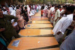 Bodies of Christians killed at All Saints Cathedral, Peshawar, 2013 (Photo: Legal Evangelical Association, Pakistan)