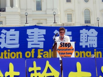 Speaking at the Rally for Freedom in China sponsored by Falun Gong (Photo credit: Daniella Royer)