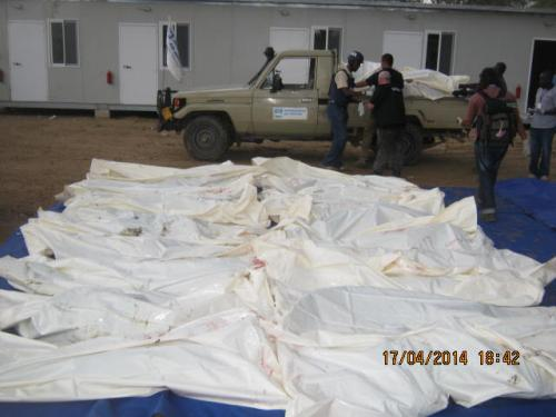 Bodies of civilians slaughtered by Machar's rebel army in 2014.