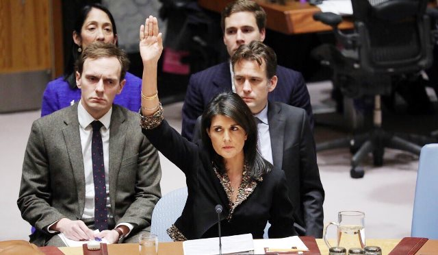 Ambassador Haley votes alone at the UNSC (Photo credit: US State Department)