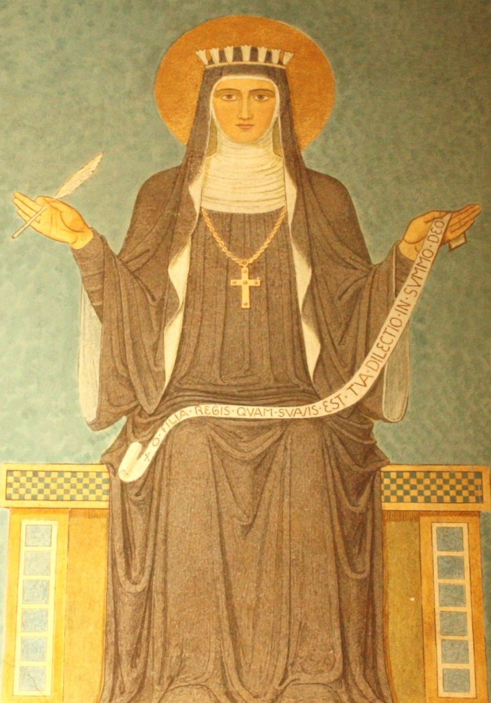 Mural of Hildegard from the Benedictine Abbey of St. Hildegard near Bingen (Bob Sessions photo)