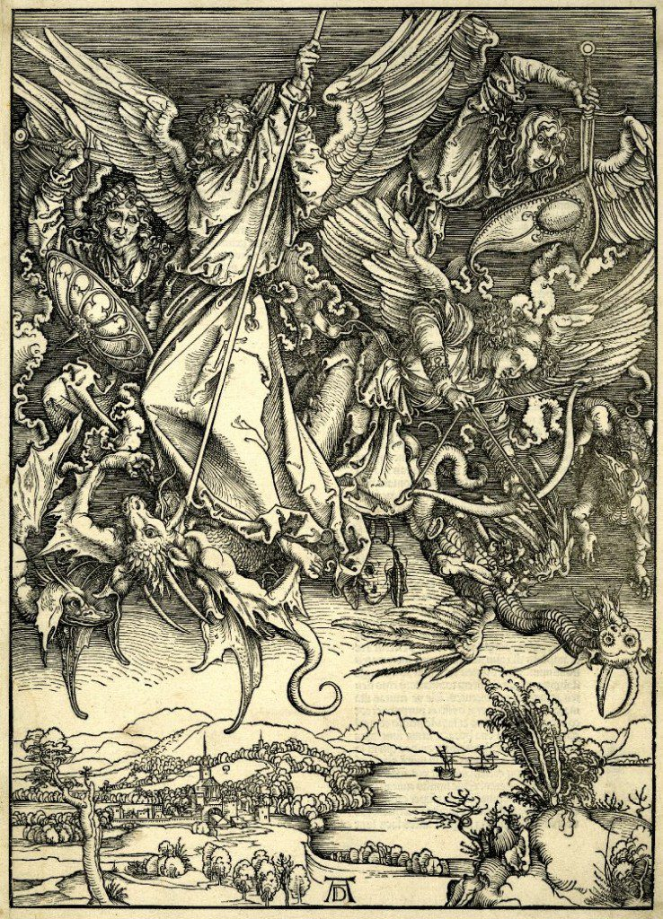 St Michael fighting the Dragon, from Albrecht Durer's Apocalypse (Wikimedia Commons image)