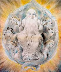 William Blake's image of God blessing the seventh day of creation. (Wikimedia Commons image)